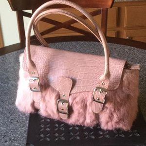 Newport News Vintage Rose Rabbit Fur Handbag